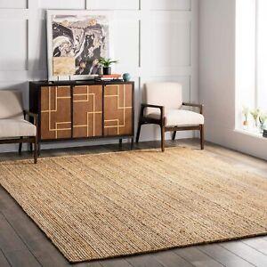 Boho Living Room Area Rug with Nonslip Backing, Braided hemp Tribal Pattern