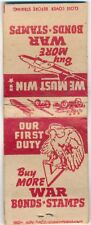 WWII Buy War Bonds - Stamps, Eagle V Matchbook Cover