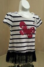 NEW Childrens Place Toddler Striped White Blue Tulle Top w/Pink Butterfly 3T