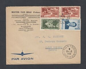 SOUTH VIETNAM 1952 MULTIPLE ISSUES ON AIRMAIL COVER SAIGON TO ST ETIENNE FRANCE
