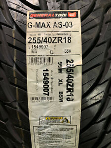 1 New 255 40 18 General G-Max AS-03 Tire