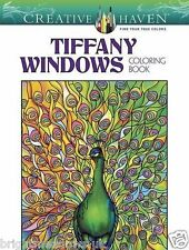 Tiffany Windows Stained Glass Adult Colouring Book Creative Art Therapy Relax
