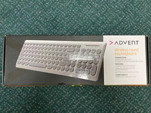 ADVENT AKBWLRK19 Slim Wireless Round Key Retro Keyboard 2.4GHz UK QWERTY White