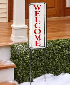 4 Ft. Tall Enamelware WELCOME Christmas Plaque Yard Stake
