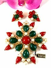 CROWN TRIFARI KASHMIR INDIA CABOCHON MALTESE CROSS PENDANT BROOCH EARRINGS SET