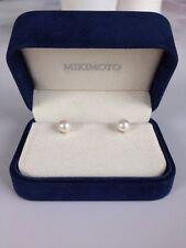 MIKIMOTO Pearl Stud Earrings 18k White Gold 7-7.5mm A+