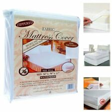 Full Size Fabric Zippered Mattress Cover Waterproof Bed Bug Dust Mite Protector