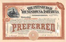 The Pittsburgh Yougstown & Ashtabula Railroad Company Certificate