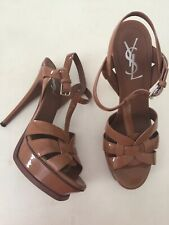 YSL Saint Laurent TRIBUTE PLATFORM SANDALS IN PATENT LEATHER Size 38.5 As New