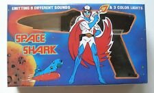 1980's Vintage SPACE SHARK Black Space Pistol, Battery Operated with Box, New