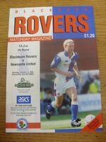 13/02/1993 Blackburn Rovers v Newcastle United [FA Cup] . Footy Progs/Bobfrankan