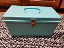 Wil Hold Wilson Vtg Turquoise Green Storage/Make up/Hair Rollers/sewing Case