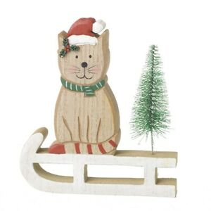WOODEN CAT WITH TREE ON SLEDGE