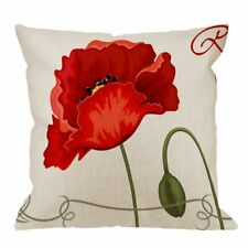 Pillow Case Red Poppies Cotton Linen Square Cushion Cover Standard Pillowcase
