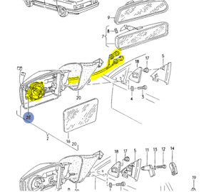 AUDI 100/200 1989-91  LEFT OR RIGHT ADJUSTMENT MOTOR FOR MIRROR 893959577