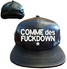 Black PU Faux Leather COMME DES FUCKDOWN Snapback Cap Hat