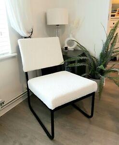 Boucle fabric unique chair - metal frame