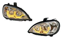 Pair Chrome Headlights W/ Amber LED Dual Lights for Freightliner Columbia