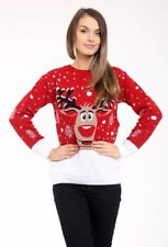 Ladies Women Knitted Rudholph Red Xmas Christmas Jumper Sweater Top size 24 26
