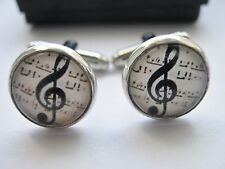 "Music Cufflinks Treble Clef 14mm (1/2"") Boys Mens Choir Shirt Cuffs Jewellery"