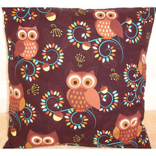 Cool Retro Orange Owls Cushion Cover 16 X 16