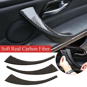 3*Real Carbon Fiber Inner Armrest Front Trim For BMW 3 Series E90 E92 2005-2012