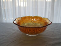 "Imperial 'Shell and Sand' Marigold Carnival Glass Bowl - 7 1/2"" dia X 2 3/4"" tl"