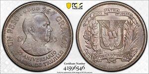 PCGS MS-66 DOMINICAN REPUBLIC SILVER 1 PESO 1955 (TRUJILLO) COMBINED TOP POP 1/0