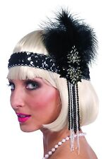 Deluxe BLACK & SILVER FLAPPER HEADBAND Feather Roaring 20s Costume Beads Sequins