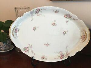 """Theodore Haviland Limoges France 18"""" Antique Oval Pink Floral Porcelain Platter"""