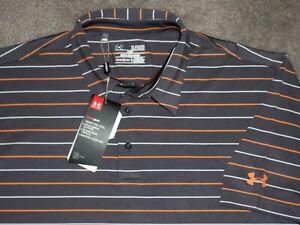 Men's NWT UNDER ARMOUR HG Loose Polo XL GRAY w/Stripes w/UA & Sponsor