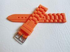 Silikon Ersatz Uhrenarmband Uhr Armband Silicon Rubber Watch Strap orange 22 mm