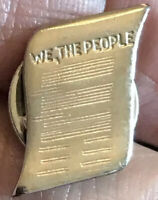 Vintage United States Constitution We The People Silver Tone Lapel Pin