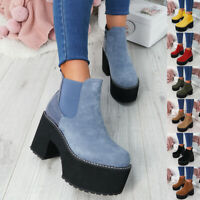 WOMENS LADIES SIDE ZIP CHUNKY ANKLE BOOTS PLATFORM BLOCK HEEL CHELSEA SHOES SIZE