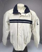 Euc VINTAGE 90s Nautica Beige Full Zip Mesh Lined Sailing Jacket Large Coat