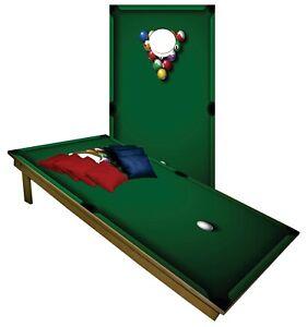 Billards Pool CORNHOLE BEANBAG TOSS GAME w Bags Game Board Green Games Set