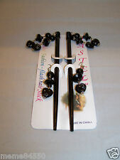 Black  Dangle Wooden Hair Sticks With Matching Earrings