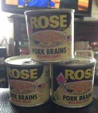 Three Cans Of ROSE BRAND Pork Brains in Milk Gravy 5 Oz Cans