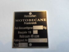Typenschild Schild Motobecane 49 ccm Mofa Moped moto plaque du constructeur s23