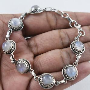 925 Solid Silver Natural Rainbow Moonstone Handmade Link Bracelet Women BS-1111