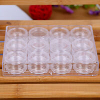 12Xbox Clear Plastic Jewelry Beads Pills Storage Boxes Small Round Container^
