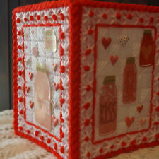 RED JARS FULL OF LOVE AND KISSES-  HANDMADE - TISSUE BOX COVER - PLASTIC CANVAS