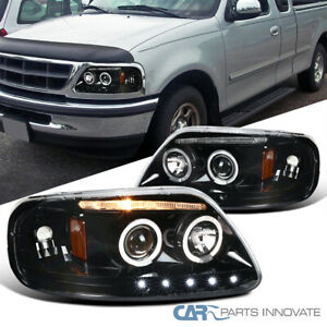 For Ford 97-03 F150 Expedition Pickup LED Halo Pearl Black Projector Headlights