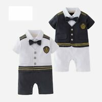 Baby Boy Carnival Sailor Nautical Marine Captain Costume Romper Clothes Outfit
