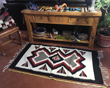 Rug Zapotec Native Mexican Hand Woven  100 % Wool Traditional  32 X 64   D9