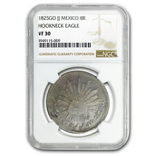 1825 Go-JJ Mexico Silver 8 Reales VF-30 NGC (Hookneck)