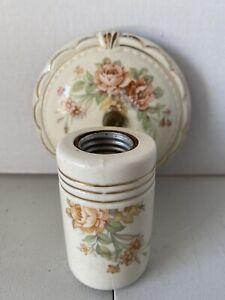VINTAGE Porcelain ART DECO WALL SCONCE Bathroom Light Fixture W/Outlet Roses