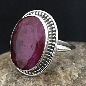 925 Sterling Fine Silver Ruby Gemstone Ring Sz C-Z Women Fest Gift RSP-1156