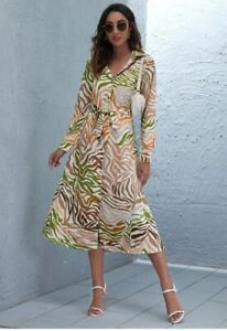 SHEIN Long Sleeves Printed Button Up Belted Long Polo Dress