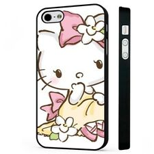 Hello Kitty Pink Floral BLACK PHONE CASE COVER fits iPHONE